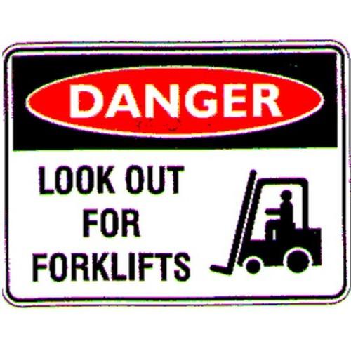 Danger Look Out FORK Sign