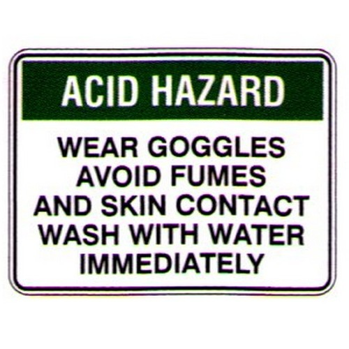Acid Hazard Wear Goggles Sign