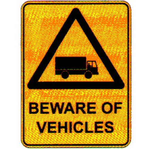 Beware Of Vehicles Truck Sym Sign