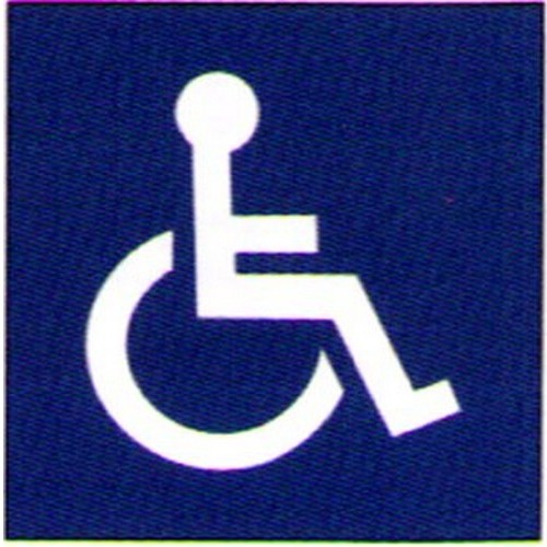 Blue White Engraved Disabled Sign