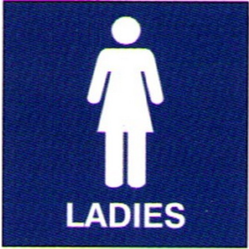 Blue White Engraved Ladies Sign