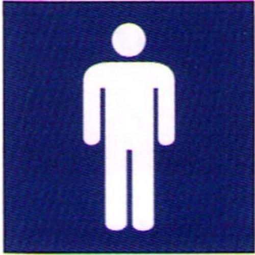 Blue White Engraved Men Sign