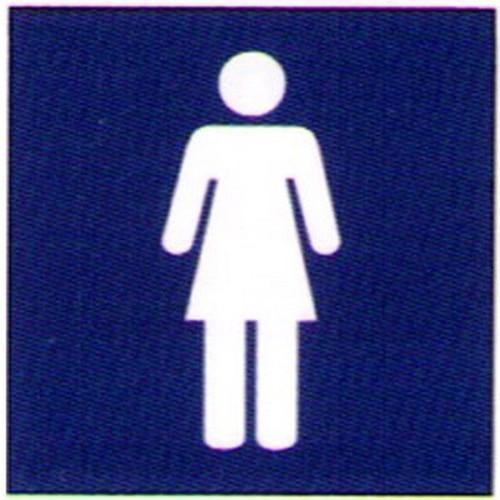 Blue White Engraved Women Sign