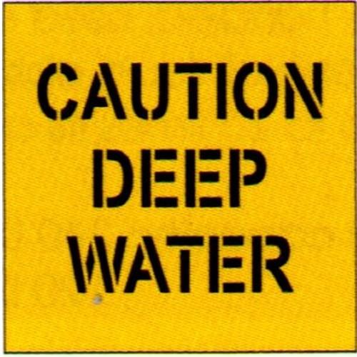 Caution Deep Water Stencil