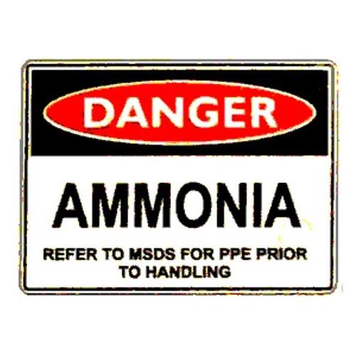 Danger Ammonia Refer Handling Sign