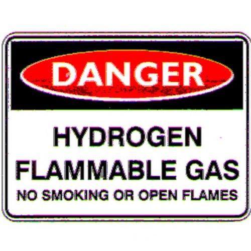Danger Hydrogen Flam Gas Sign