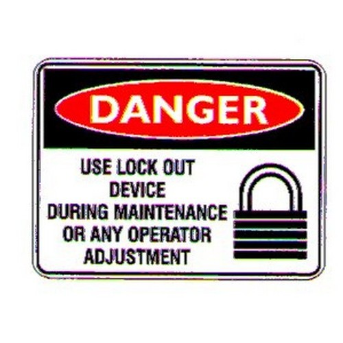 Danger Use Lock Device Sign