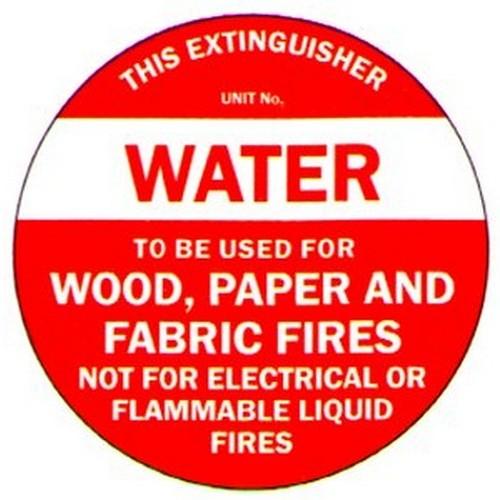 Fire ExtDisc Water Label