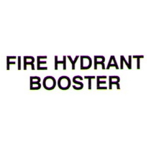 FIRE HYDRANT BOOSTER Door Label