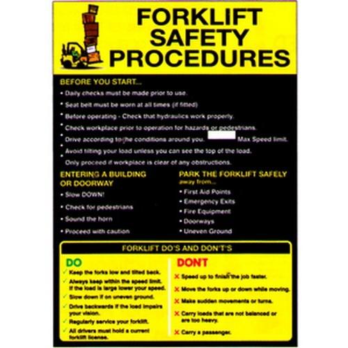 Forklift Safety Procedures Poster