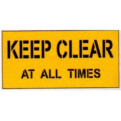 Keep Clear At All Times Car Park Stencil