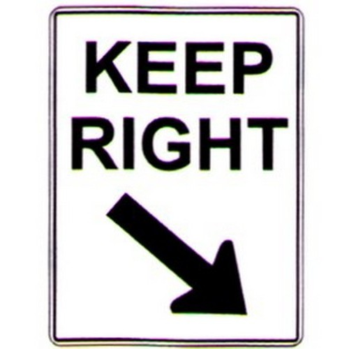 Keep Right Down R Arrow Sign