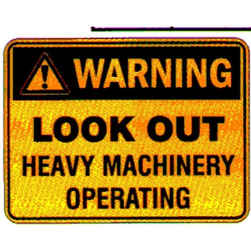 Reflective Look Out Heavy Mach Op Sign