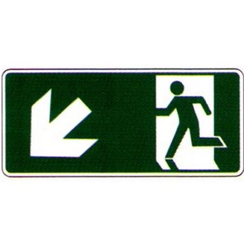 Luminous Left Down Arrow Run Man Label