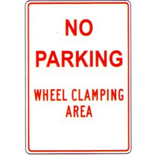 No Parking Wheel Clamping Sign