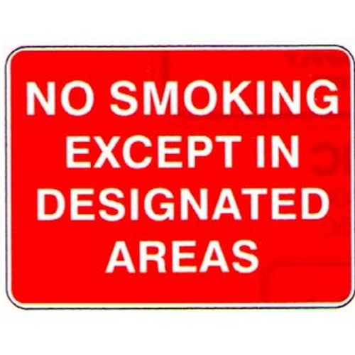 No Smoking Except In DesArea Sign