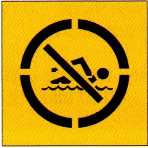 No Swimming Symbol Stencil