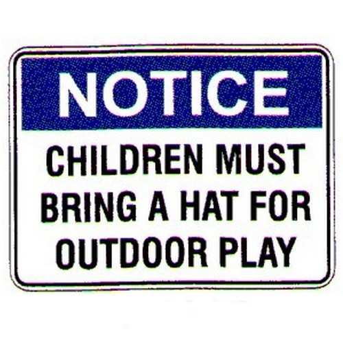 Notice Children Must Bring Hat Sign