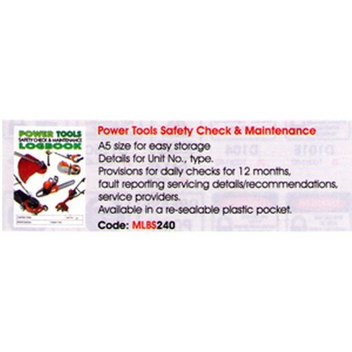 Power Tools Safety Log Book
