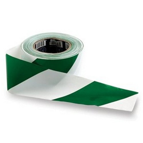 Green and White Barricade Tape