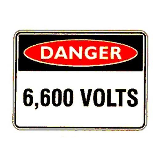 Reflective Danger 6600 Volts Sign