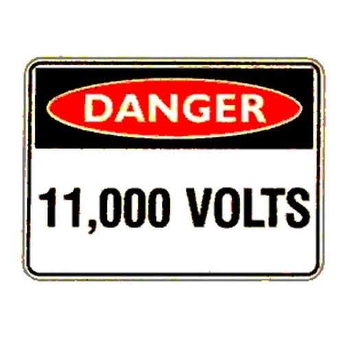 Reflective Danger 11000 Volts Sign