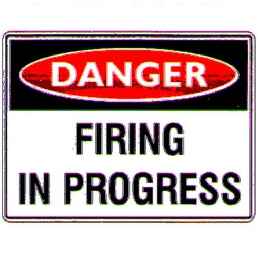 Reflective Danger Firing In Progress Sign
