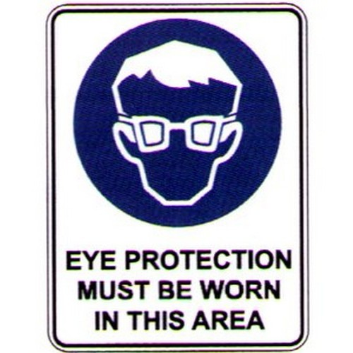 Reflective Eye Protection This Area Sign