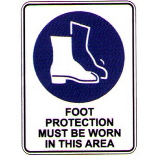 Reflective Foot Protection This Area Sign