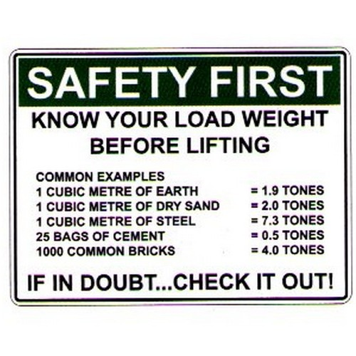 Safety First Know Your Load Sign