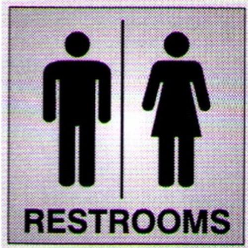 Silver Black Restrooms Sign
