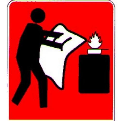 Stick Fire Blanket Symbol Label