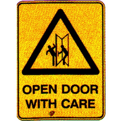 Stick Warning Open Door With Care Label