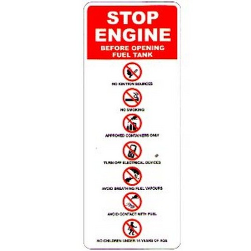 Stop Engine Before Opening Sign