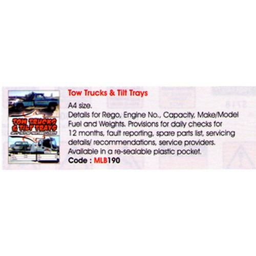Trucks Tilt Trays Log Book