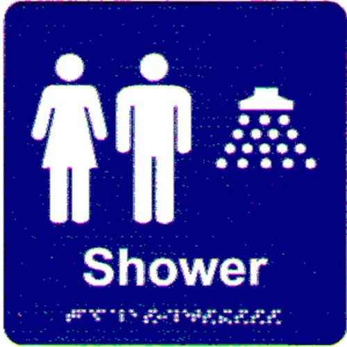 Unisex-Shower-Braille-Sign