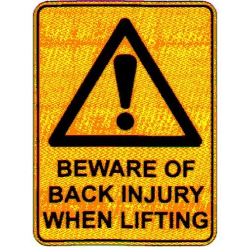 Warn Beware Of Back Injury Sign