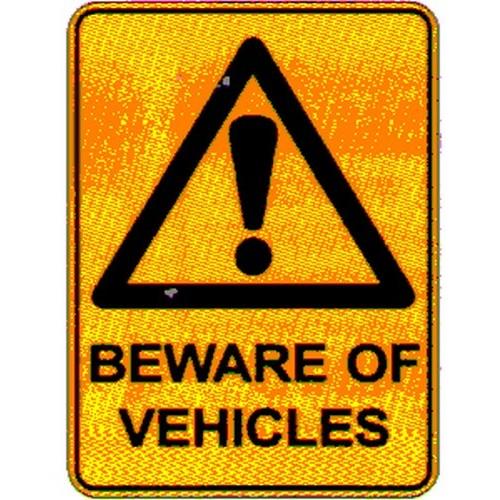 Warn Beware Of Vehicles Sign