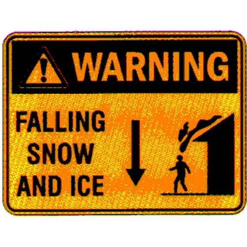Warning Falling Snow Ice Sign