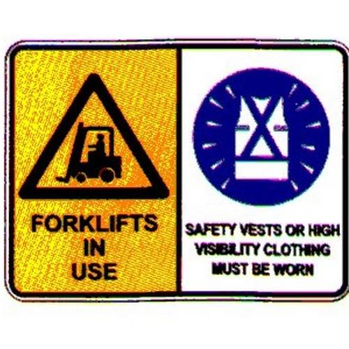 Warning ForkliftSafety Vests Sign