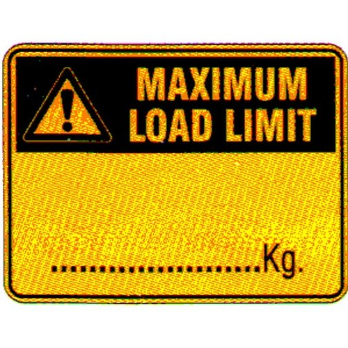 Warning Max Load Limit Kg Labels